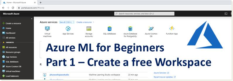 Azure Machine Learning for Beginners -1 Setting up a Free Workspace